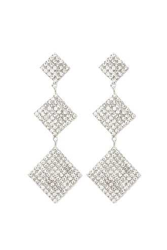 Forever 21 Tiered Square Rhinestone Drop Earrings  Silver/clear - GOOFASH
