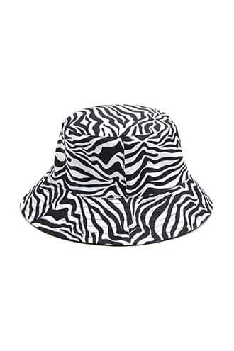 Forever 21 Tiger Striped Trim Bucket Hat  Black/multi - GOOFASH