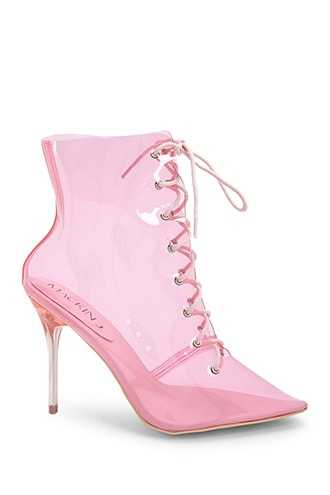 Forever 21 Transparent Lace-Up Stiletto Booties  Pink - GOOFASH