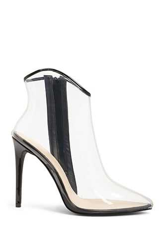 Forever 21 Transparent Stiletto Booties  Clear/black - GOOFASH