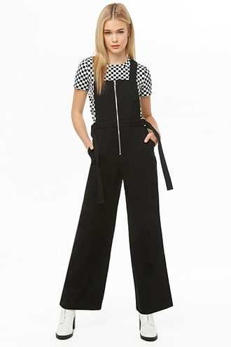 Forever 21 Twill Zip-Up Overalls  Black - GOOFASH