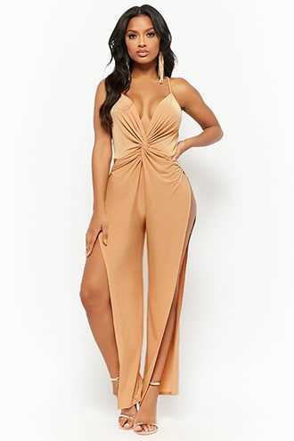 Forever 21 Twist-Front Cami Jumpsuit  Taupe - GOOFASH
