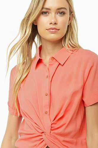 Forever 21 Twist-Front Cropped Shirt  Coral - GOOFASH