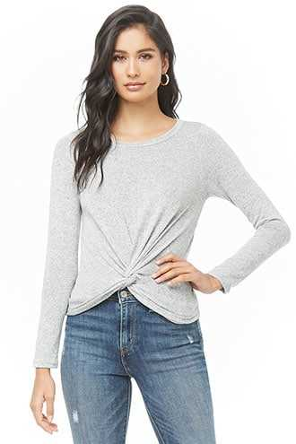Forever 21 Twisted Marled Top  Heather Grey - GOOFASH