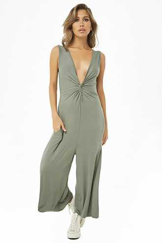 Forever 21 Twisted Wide-Leg Jumpsuit Green - GOOFASH