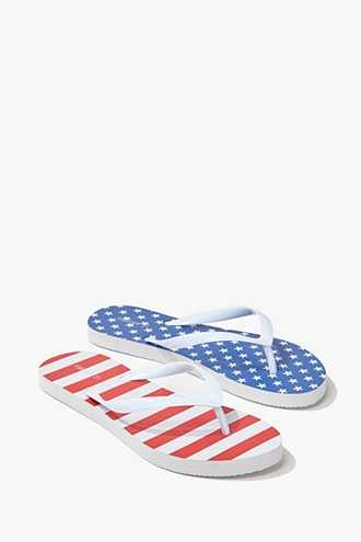 Forever 21 United States Flag Graphic Flip-Flops  Blue/red - GOOFASH