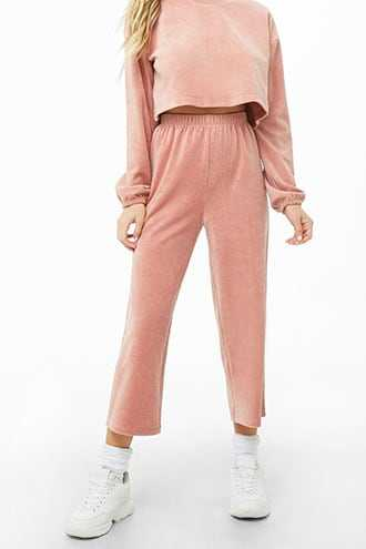 Forever 21 Velour Culotte Lounge Pants  Dusty Pink - GOOFASH