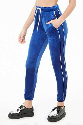 Forever 21 Velvet Piped-Trim Joggers Blue/white - GOOFASH