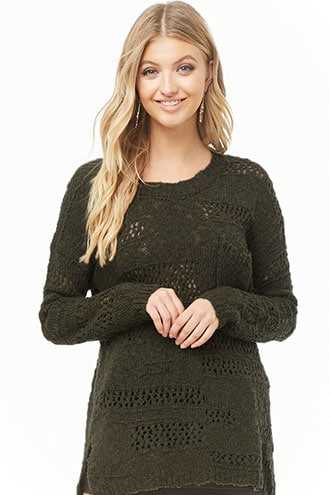 Forever 21 Vented Open-Knit Sweater  Olive - GOOFASH