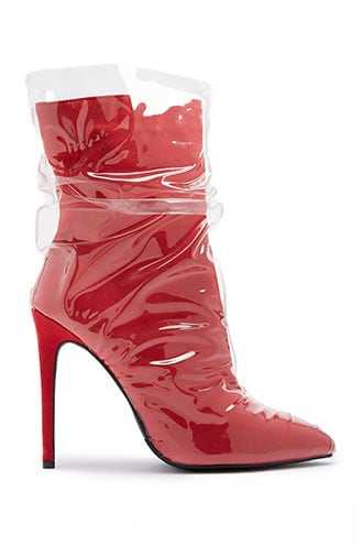 Forever 21 Vinyl Overlayer Ankle Boots  Red - GOOFASH