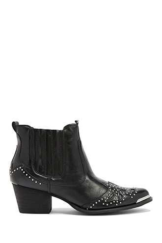 Forever 21 Wanted Studded Ankle Boots  Black - GOOFASH