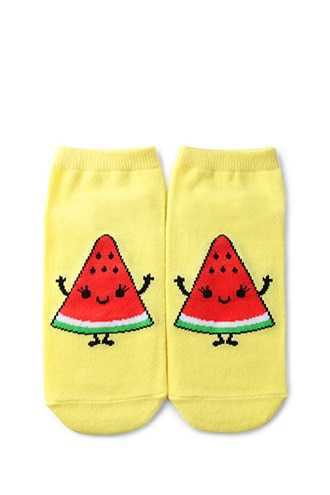 Forever 21 Watermelon Graphic Ankle Socks  Yellow/multi - GOOFASH