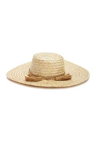 Forever 21 Wide-Brim Straw Tassel-Trim Hat Natural - GOOFASH