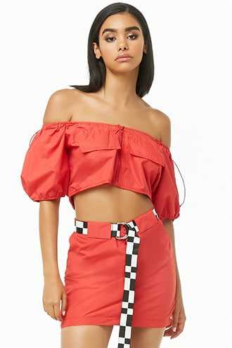Forever 21 Windbreaker Crop Top & Mini Skirt Set  Red - GOOFASH