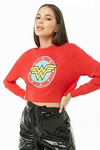 Forever 21 Wonder Woman Graphic Tee  Red/yellow - GOOFASH