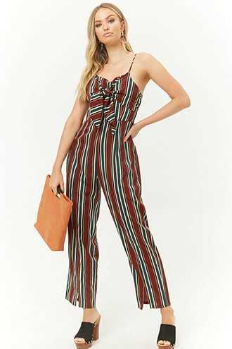 Forever 21 Woven Pink Knotted Striped Jumpsuit Burgundy/multi - GOOFASH
