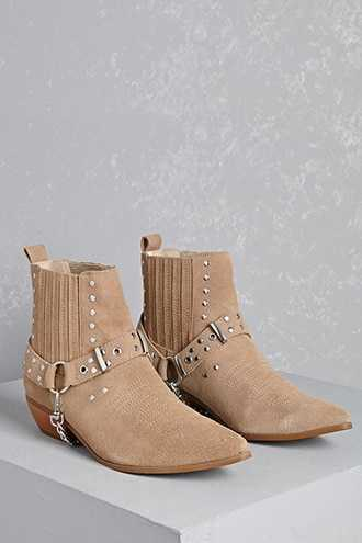 Forever 21 Y.R.U. Studded Suede Booties  Tan - GOOFASH