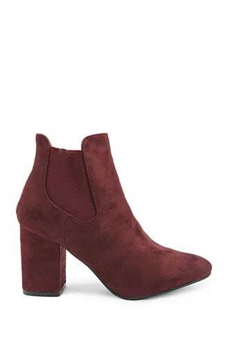 Forever 21 Yoki Faux Suede Chelsea Boots  Burgundy - GOOFASH