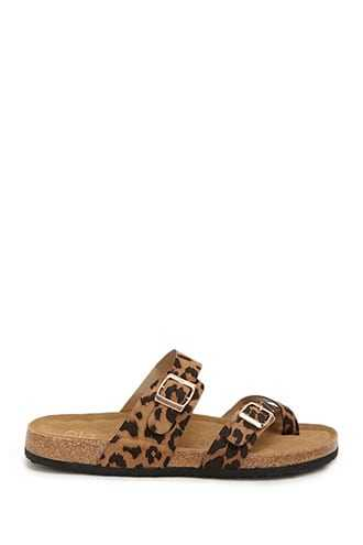 Forever 21 Yoki Faux Suede Leopard Print Thong Sandals Black/brown - GOOFASH