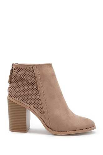 Forever 21 Yoki Faux Suede Perforated Booties  Taupe - GOOFASH