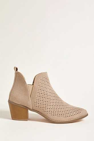 Forever 21 Yoki Perforated Ankle Boots Tan - GOOFASH
