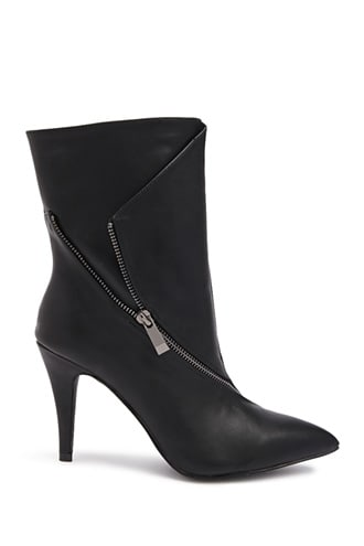 Forever 21 Zip Detail Ankle Boots Black - GOOFASH