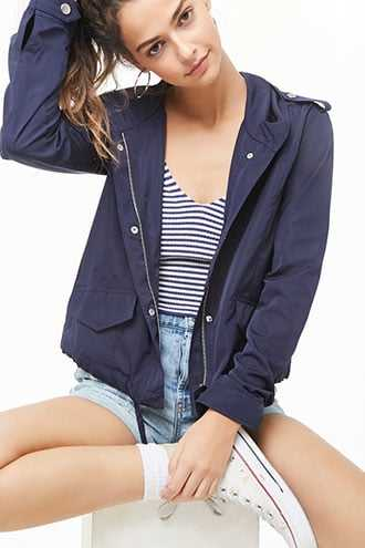 Forever 21 Zip Front Hooded Jacket  Navy - GOOFASH