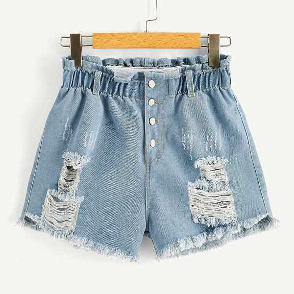 Frayed Hem Ripped Frill Denim Shorts - Shein - GOOFASH