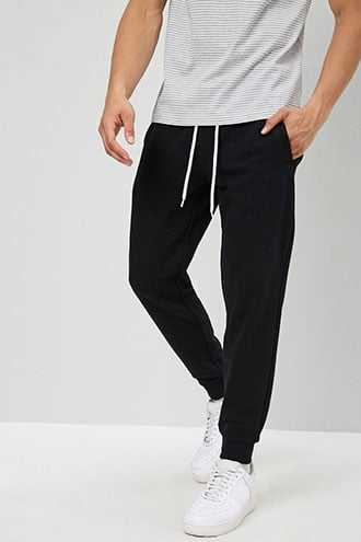 French Terry Drawstring Joggers at Forever 21  Black - GOOFASH