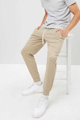 French Terry Drawstring Joggers at Forever 21  Deep Taupe - GOOFASH