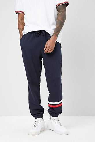 French Terry Striped-Trim Joggers at Forever 21  Navy/red - GOOFASH