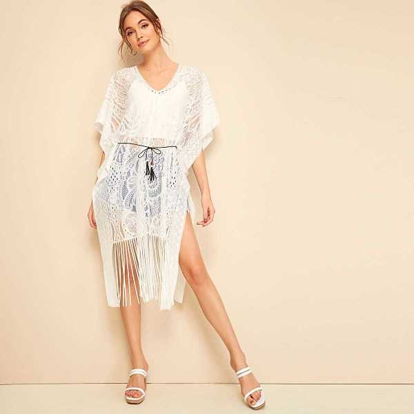 Fringe Hem Sheer Lace Cover Up With Belted - Shein - GOOFASH