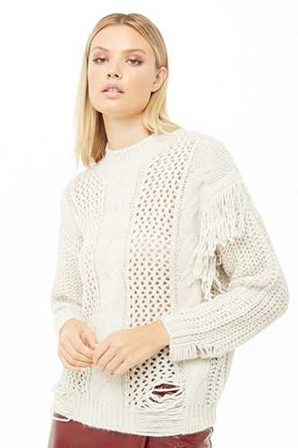 Fringe-Trim Mixed-Knit Sweater at Forever 21  Beige - GOOFASH