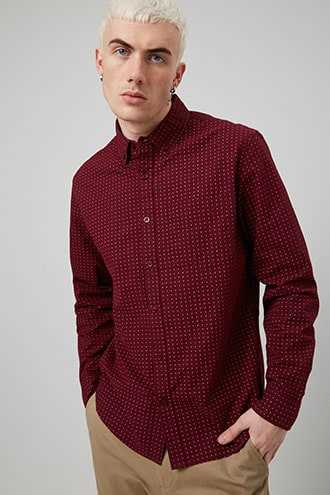 Geo Print Fitted Shirt at Forever 21 Burgundy/white - GOOFASH