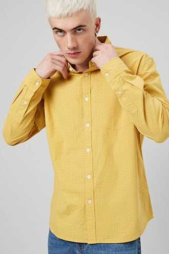Geo Print Fitted Shirt at Forever 21  Yellow/white - GOOFASH