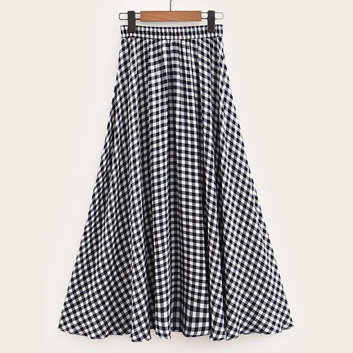 Gingham Flared Skirt - Shein - GOOFASH