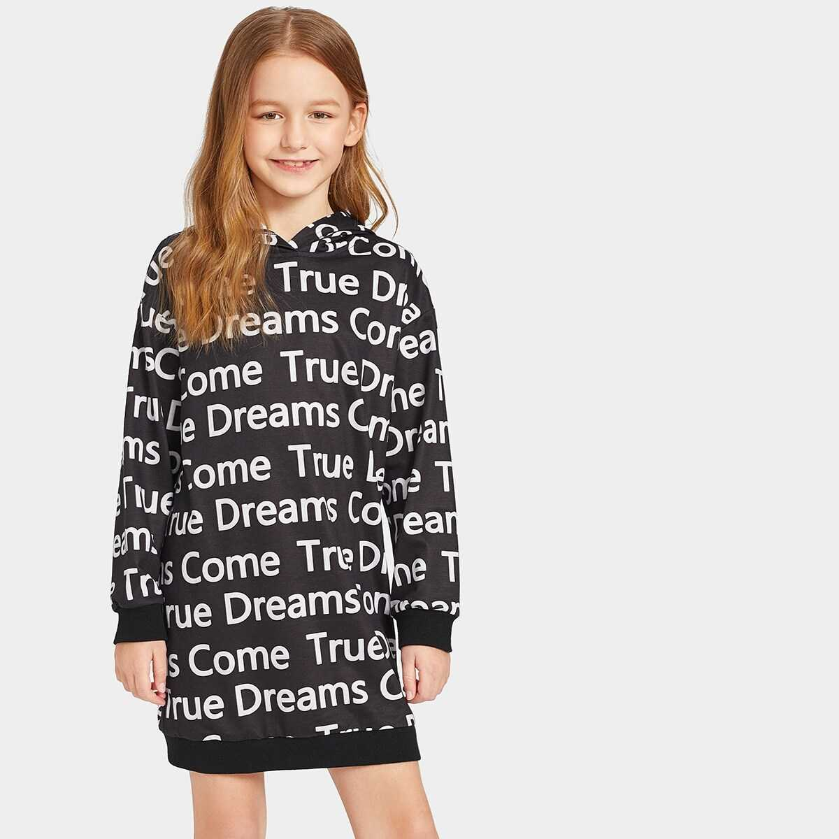 Girls Allover Letter Print Hooded Sweatshirt Dress - Shein - GOOFASH