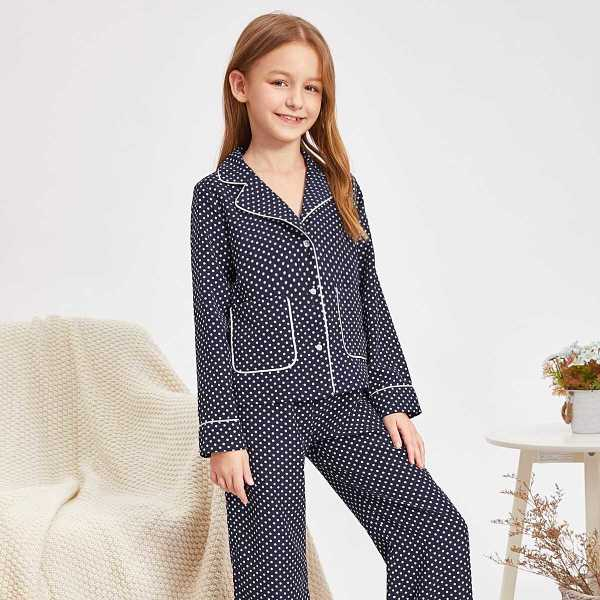 Girls Contrast Tipping Polka-dot Shirt & Pants PJ Set - Shein - GOOFASH