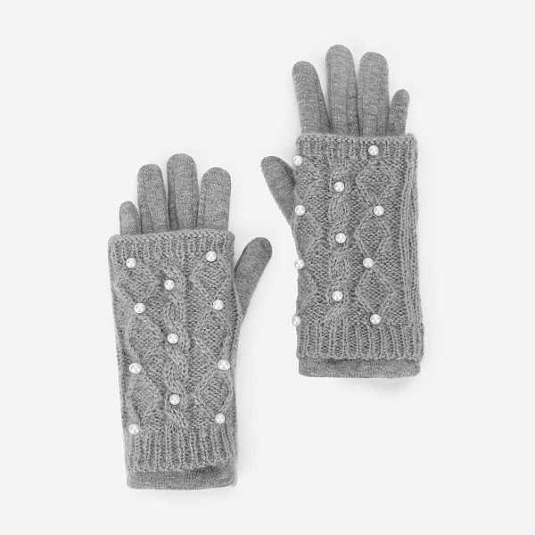 Girls Faux Pearl Decorated Gloves - Shein - GOOFASH