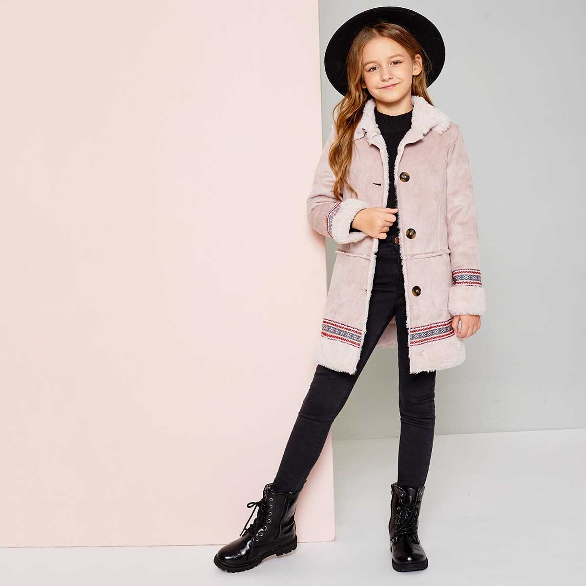 Girls Faux Shearling Geo Embroidered Suede Coat - Shein - GOOFASH