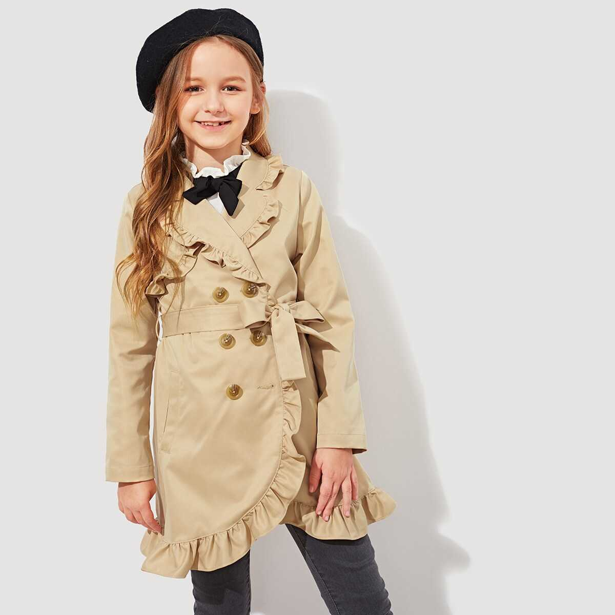 Girls Frill Trim Double Breasted Placket Coat - Shein - GOOFASH