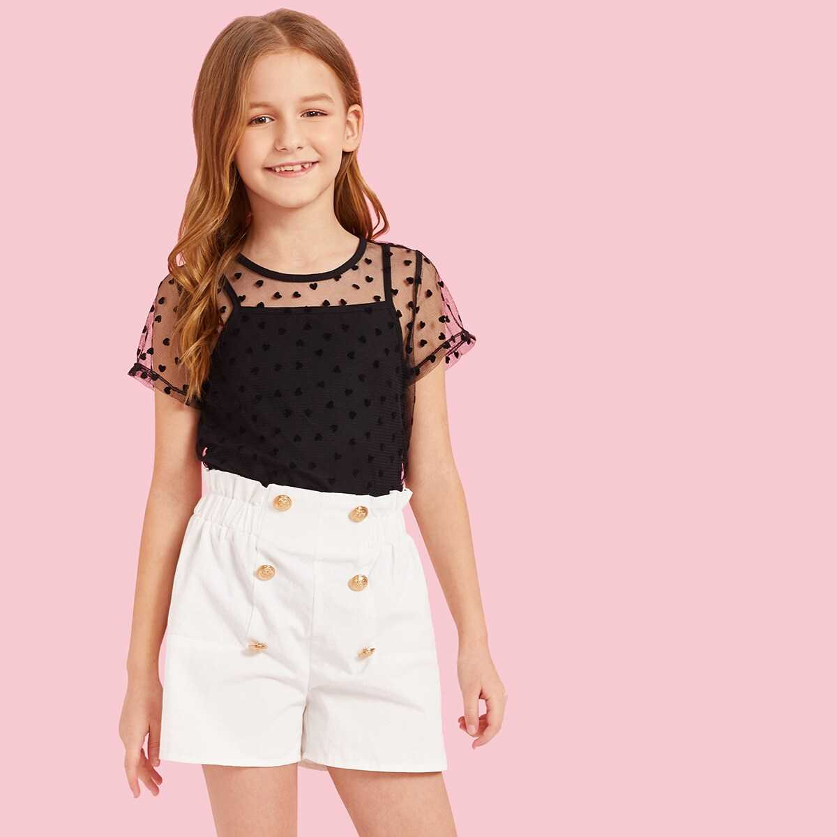 Girls Heart Mesh 2 in 1 Top & Double Breasted Shorts Set - Shein - GOOFASH