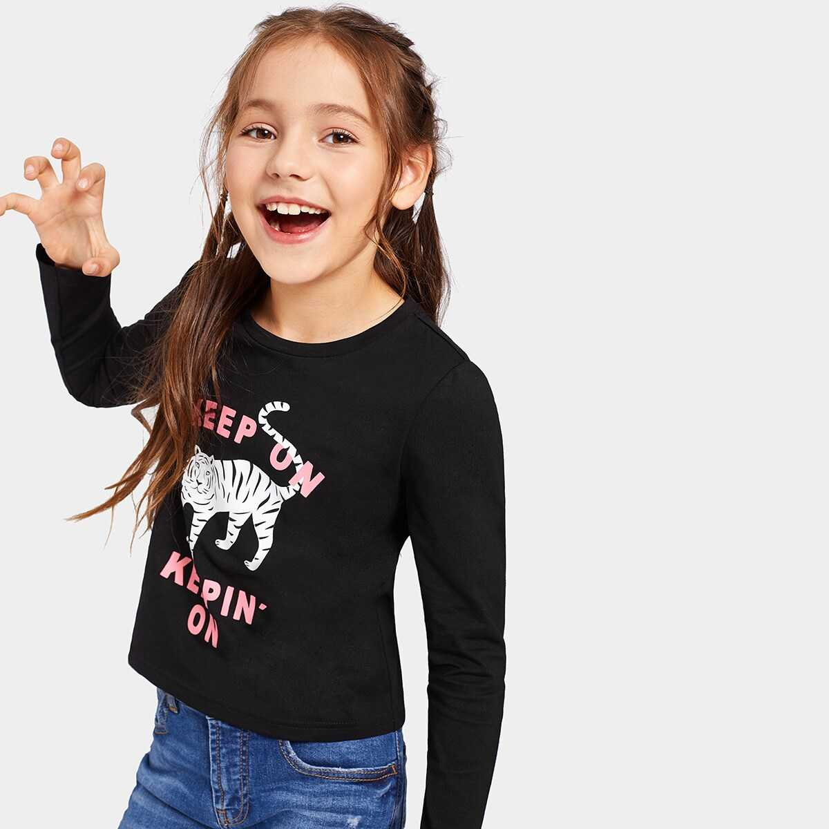 Girls Letter And Tiger Print Tee - Shein - GOOFASH