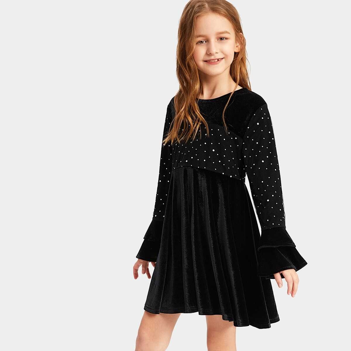 Girls Mesh Overlay Layered Bell Sleeve Velvet Dress - Shein - GOOFASH