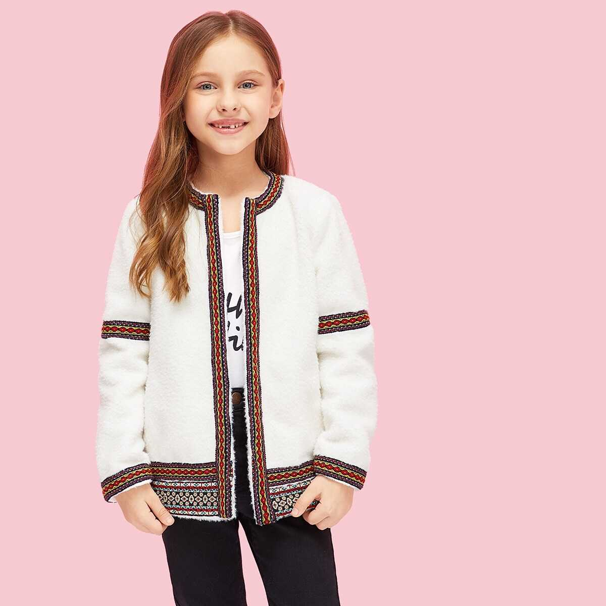 Girls Open Front Embroidered Teddy Coat - Shein - GOOFASH