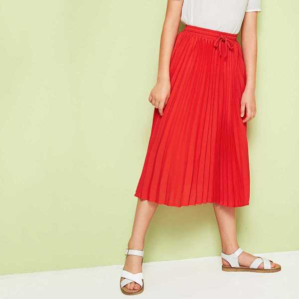 Girls Solid Drawstring Waist Pleated Skirt - Shein - GOOFASH