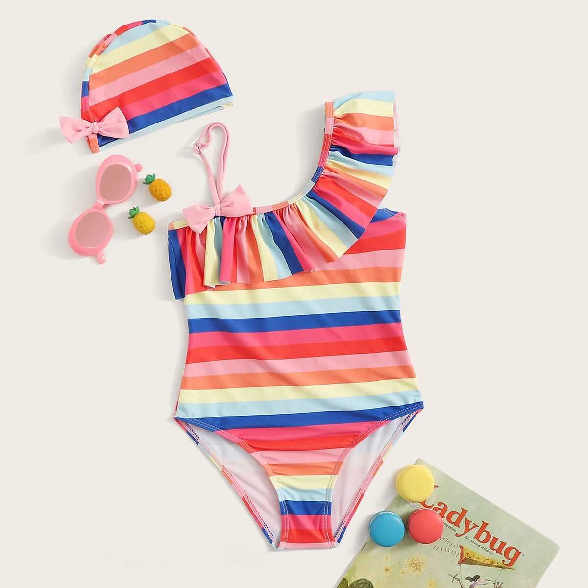 Girls Striepd Asymmetrical One Piece Swimsuit With Hat - Shein - GOOFASH