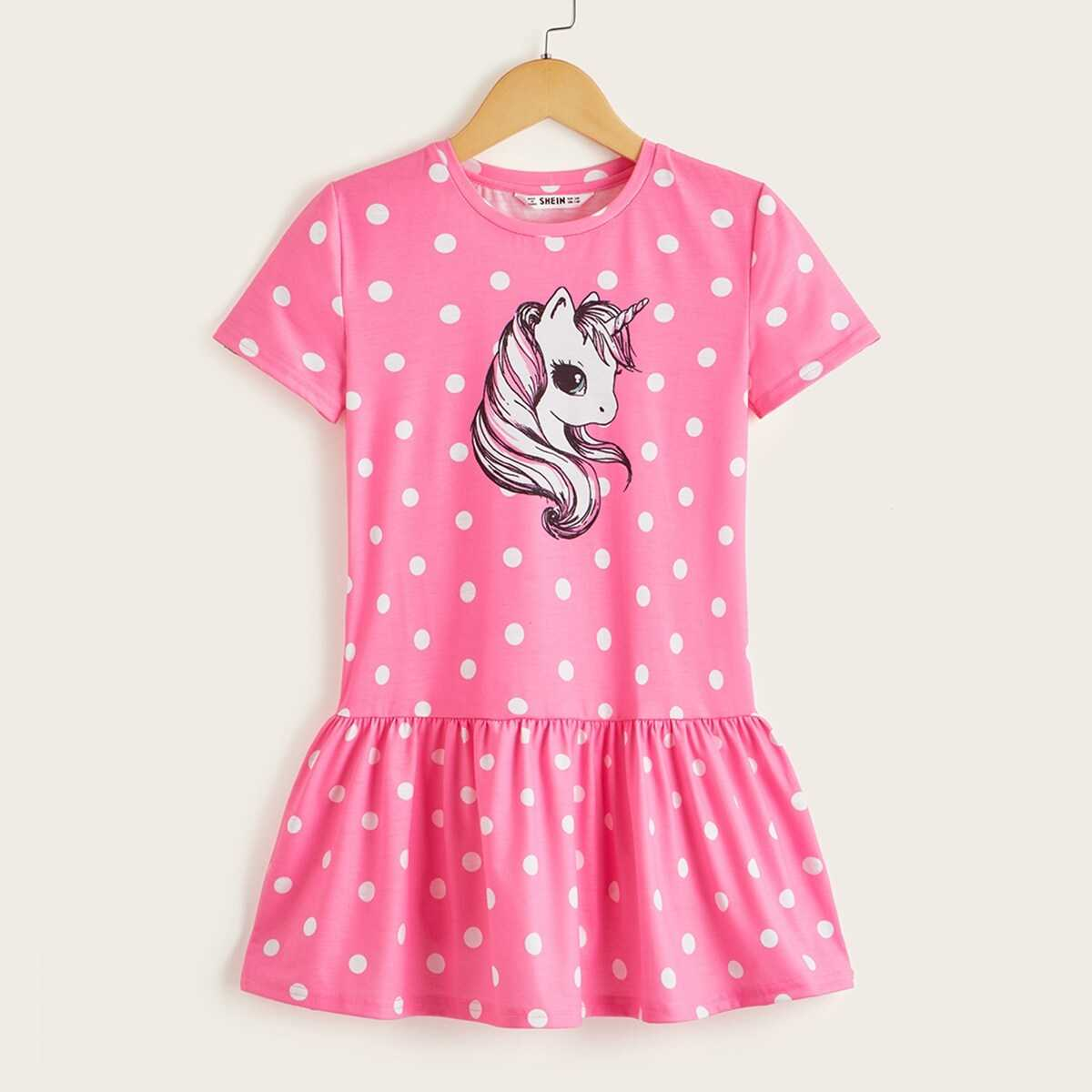 Girls Unicorn & Polka Dot Print Peplum Hem Dress - Shein - GOOFASH
