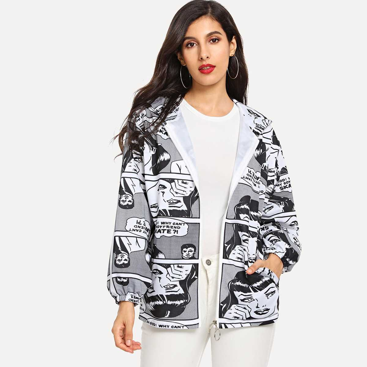 Graphic Print Hooded Coat - Shein - GOOFASH