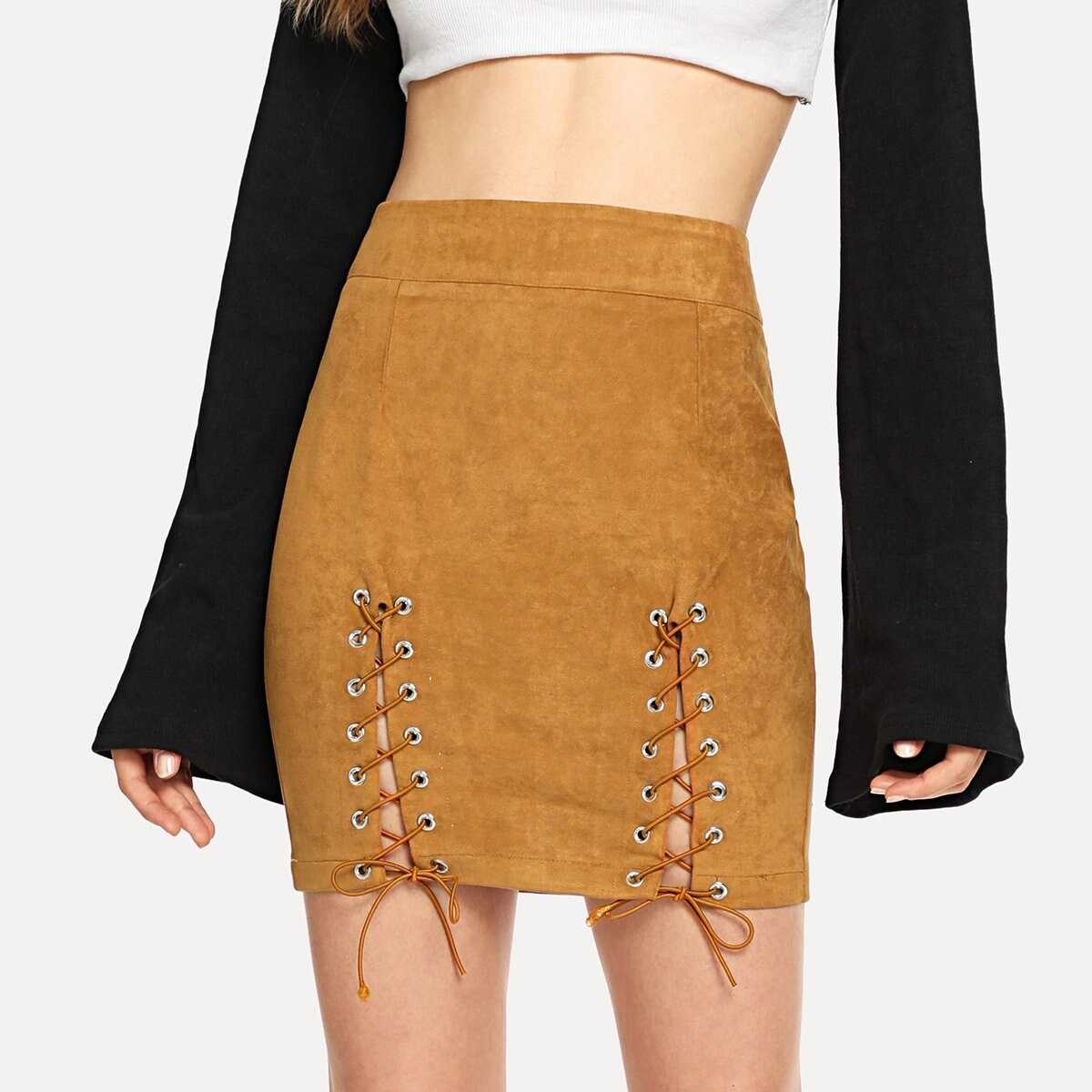 Grommet Lace Up Suede Skirt - Shein - GOOFASH